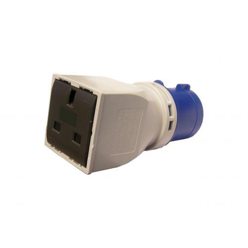 CEE verloopblok 16A 230V IP44 naar 13A 230V contactdoos (UK)