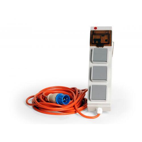 CEE verloopkabel 10 meter 16A 230V met beveiliging naar 3x13