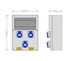 Stroomkast RE117F met 3 WCD 16A 230V