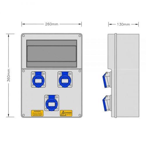 Stroomkast RE117F met 3 WCD 16A 230V + 3 MCB
