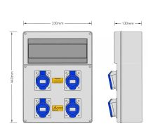 Stroomkast RE117F met 4 WCD 16A 230V + 4 x MCB