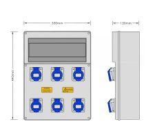 Stroomkast RE119F met 6 WCD 16A 230V