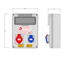 Stroomkast RE115F met 1 WCD 16A en 1 WCD 16A 400V