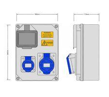 Stroomkast RE113F met 1 WCD 16A en 1 WCD 32A 230V