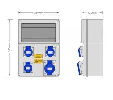 Stroomkast RE115F met 1 WCD 32A 230V en 3 WCD 16A 230V