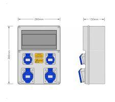 Stroomkast RE117F met 2 WCD 32A 230V en 2 WCD 16A 230V