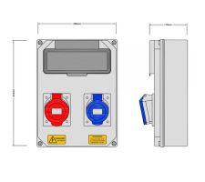 Stroomkast RE115F met 1 WCD 32A en 1 WCD 32A 400V