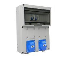 Aansluitkast Front 2 wcd CEE 16A / 2x kWh meter gemonteerd