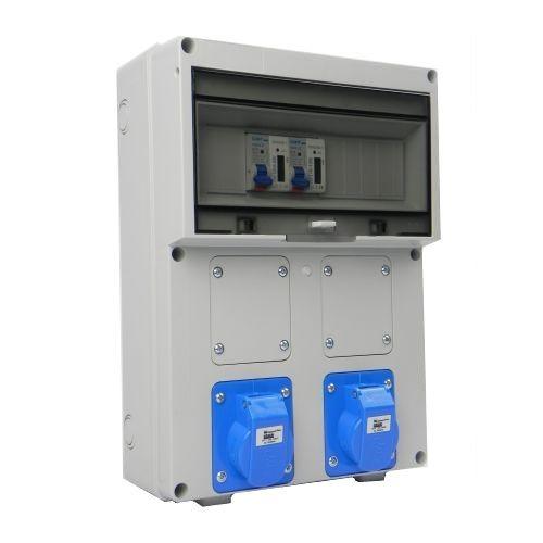Aansluitkast Front 2 wcd CEE 16A/ 2x kWh meter gemonteerd