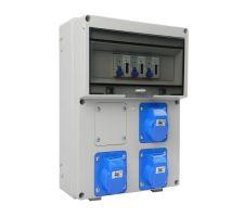 Aansluitkast Front 3 wcd CEE 16A / 3x kWh meter gemonteerd
