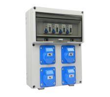Aansluitkast Front 4 wcd CEE 16A / 4x kWh meter gemonteerd