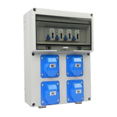 Aansluitkast Front 4 wcd CEE 16A/ 4x kWh meter gemonteerd