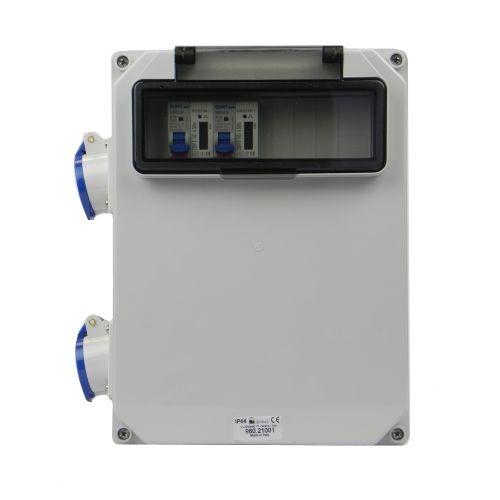 Aansluitkast Zijkant 2 wcd CEE 16A/ 2x kWh meter gemonteerd IP44