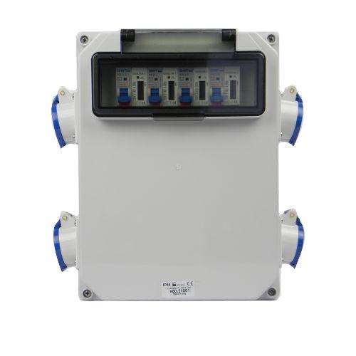 Aansluitkast Zijkant 4 wcd CEE 16A/ 4x kWh meter gemonteerd IP44