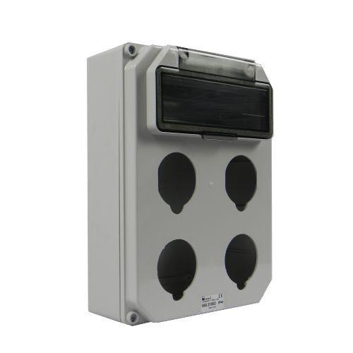 Aansluitkast leeg 10mod flap 4 wcd-aansluitingen front IP44