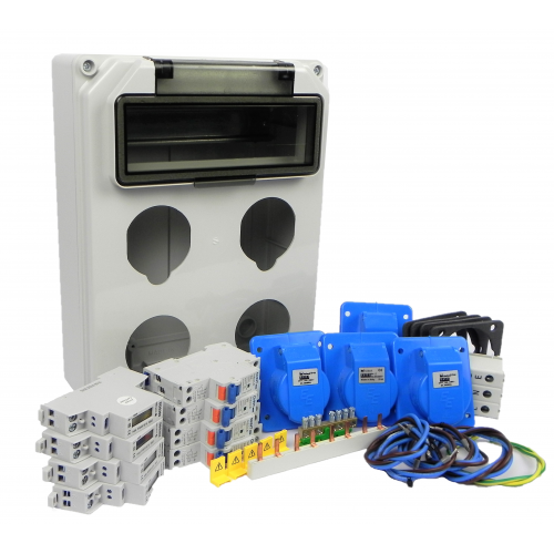 Aansluitkast Front 4 wcd CEE 16A / 4x kWh meter Kit IP44