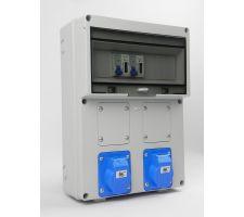 Aansluitkast Front 2x wcd cee 16A/ 2x kWh meter gemonteerd