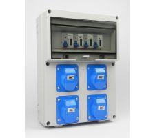 Aansluitkast Front 4x wcd cee 16A/ 4x kWh meter kit