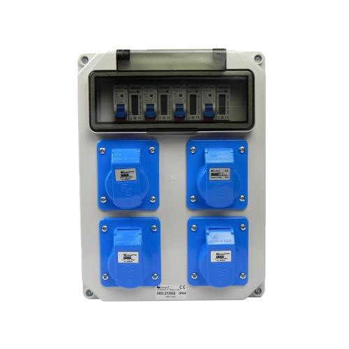 Aansluitkast Front 4 wcd CEE 16A / 4x kWh meter gemonteerd IP44
